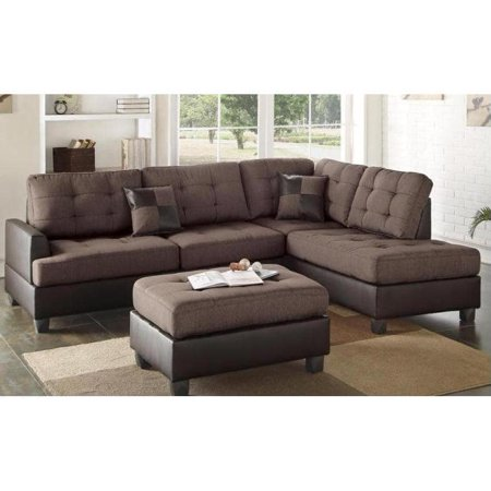 3-piece Faux-Leather and Fabric Sectional Sofa Set with Ottoman ...