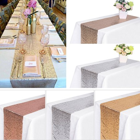 CUH Sequin Table Runners, 12'' x 108'' Sparkly Tablecloth Wedding Birthday Christmas Banquet Decor Thanksgiving Event Party Supply, Rose Gold / Gold / Silver / Champagne ()