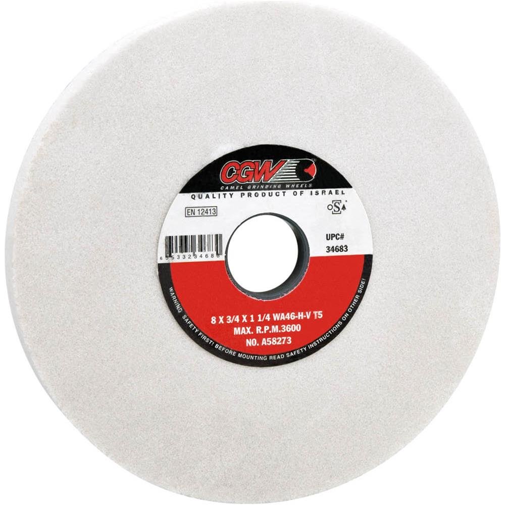 "Camel Grinding Wheels G7437 8"" X 3/4"" Grind Wheel, Friable, Type 5 WA46 1-1/4"" Bore"