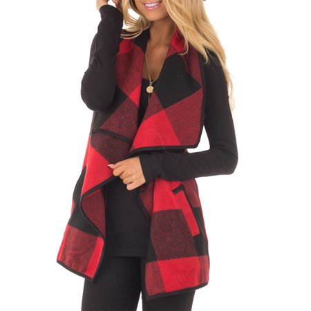 Sleeveless Plaid Vest Coat with Pocket for Women Wear
