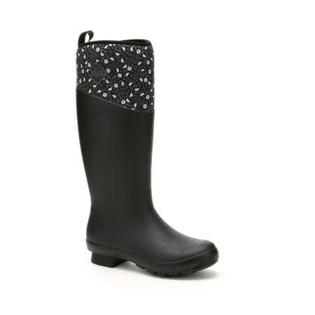 Muck Boot Women's Tremont Wellie Tall Outdoor Boots Black Neoprene Rubber Fleece 5 M ()