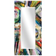 "Empire Art Direct Rock Start I Rectangular Beveled Mirror on Free Floating Reverse Printed Tempered Art Glass, 72"" x 36"" x 0.4"", Ready to Hang"
