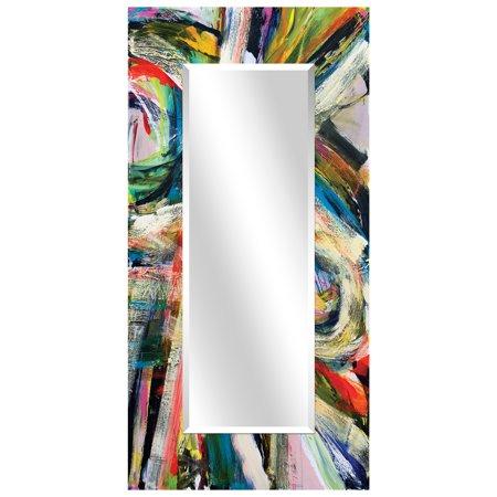 Empire Art Direct Rock Start I Rectangular Beveled Mirror on Free Floating Reverse Printed Tempered Art Glass, 72