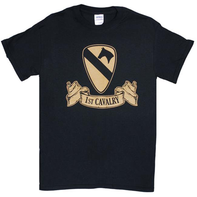 Fox Outdoor 63-961 M 1St Cavalry Ribbon Imprint T-Shirt - Black, Medium