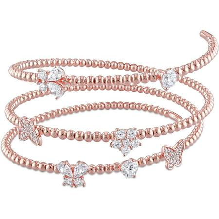 (4/5 Carat T.G.W. CZ Rose Rhodium over Sterling Silver Spiral Bangle Bracelet, 7.5