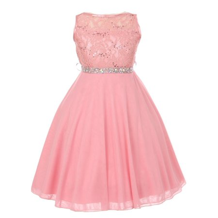Sparkle Bridesmaid Dress - Girls Dusty Pink Sparkle Sequin Lace Chiffon Junior Bridesmaid Dress