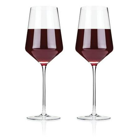 Elegant Crystal Glass - Wine Glasses, Elegant Raye Crystal Bordeaux Insulated Clear Wine Glass, Set Of 2