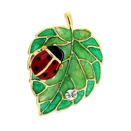 Green Leaf Ladybug Crystal Lapel
