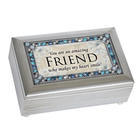 Cottage Garden PJ140C Friends Jeweled Silver Petite Music Box
