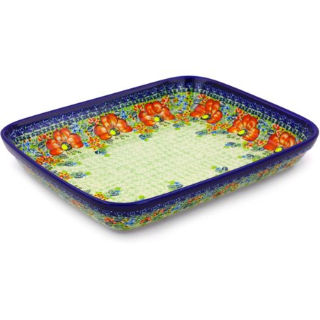 Polish Pottery 11¾-inch Rectangular Baker (Garden Meadow Theme) Signature UNIKAT Hand Painted in Boleslawiec, Poland + Certificate of Authenticity