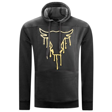 Mens Hipster Hip Hop bulls Embossed Gold Print HOODIES