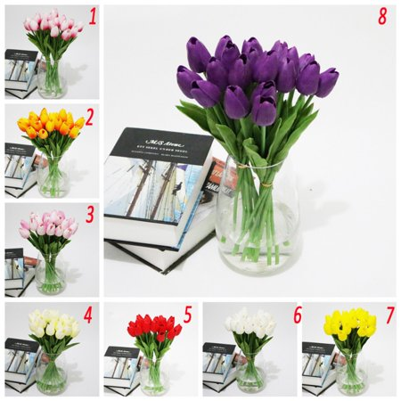 10 Head Artificial Tulips Flower Latex Fake Bouquet Wedding Party Decor Gift