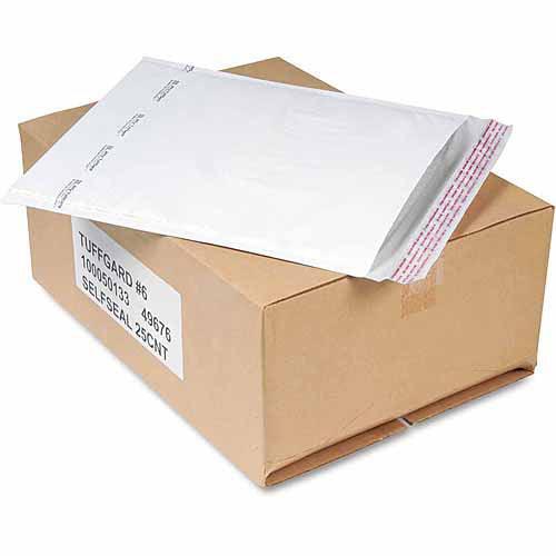 Sealed Air Jiffy TuffGard Self-Seal Cushioned Mailer, #6, 12 1/2 x 19, White, 25/Carton