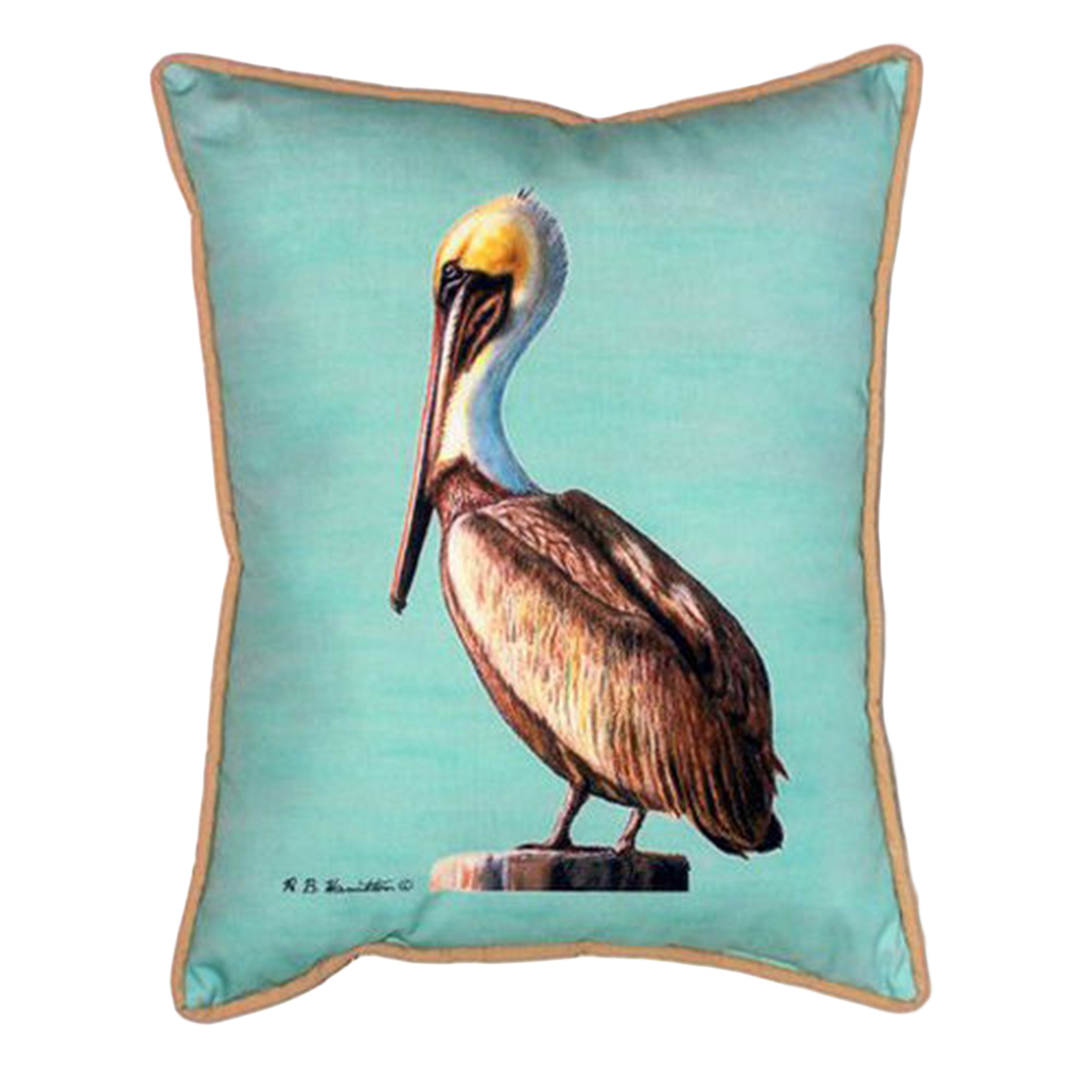 Betsy Drake Pelican Extra Large 24 X 20 Indoor / Outdoor Zippered Teal Pillow