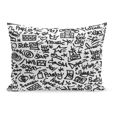 Felt Hip Hop (ECCOT Pattern Black Graffiti Rap Hip Hop Music Felt Pen Pillowcase Pillow Cover Cushion Case 20x30)