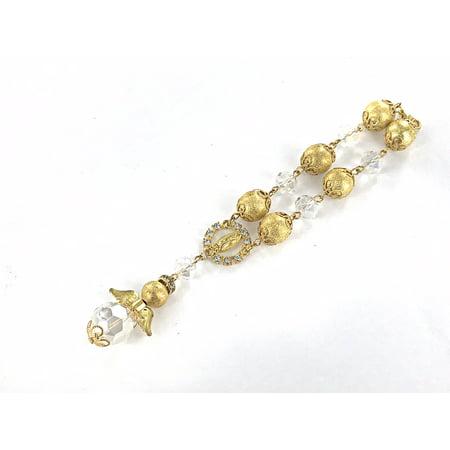 12 Pcs Rosary Pearl Bracelet Angel Wing Baptism Christening Favors (Gold)