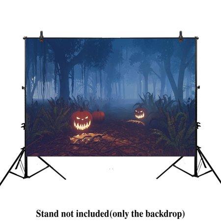 Halloween Baby Photos (MOHome Polyster 7x5ft photography backdrop background dark Spooky Halloween jack pumpkins misty night path forest kids newborn baby shower props photo studio)