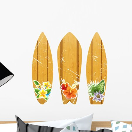 Wooden Surfboards with Floral Wall Mural Decal Sticker, Wallmonkeys Peel & Stick Vinyl Graphic (18 in W x 17 in H (Beach Surfboard Stickers)