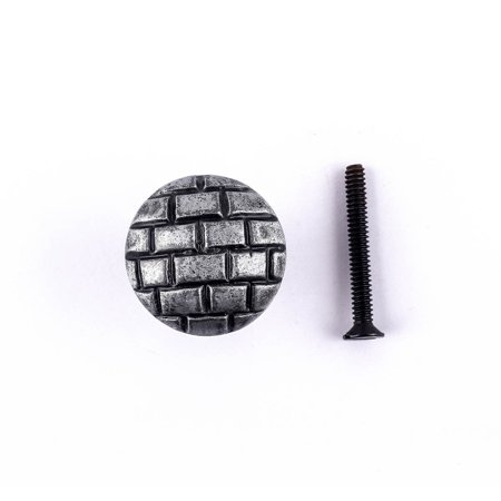Iron Cabinet Knob Round Pewter Finish Brick Design Cabinet Hardware