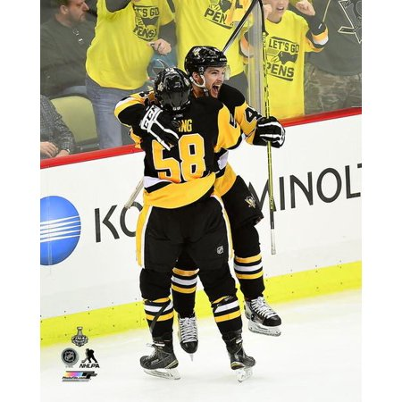Conor Sheary & Kris Letang celebrate Shearys game winning overtime goal Game 2 of the 2016 Stanley Cup Finals Photo Print - Kris Letang Halloween