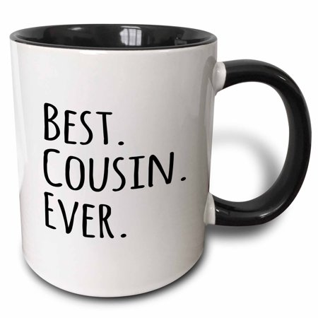 - 3dRose Best Cousin Ever - Gifts for family and relatives - black text, Two Tone Black Mug, 11oz