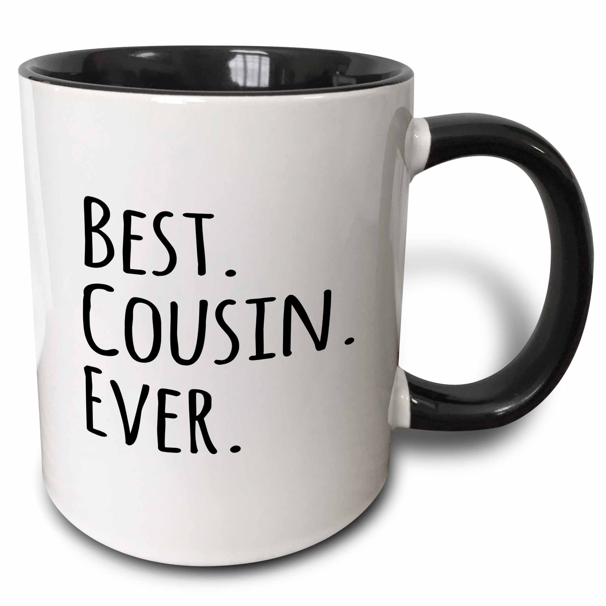 3dRose Best Cousin Ever - Gifts for family and relatives - black text, Two Tone Black Mug, 11oz