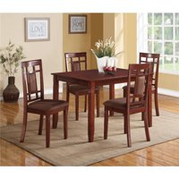 Benzara BM185669 Transitional Style Wooden Dining Set with Grid Back Chairs, Brown - Pack of 5 - 30 x 36 x 48 in.