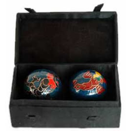 Fortune Telling Toy Call Spirits Chrome Dragon Phoenix Chiming Therapy Balls Silk Box 1 1/2
