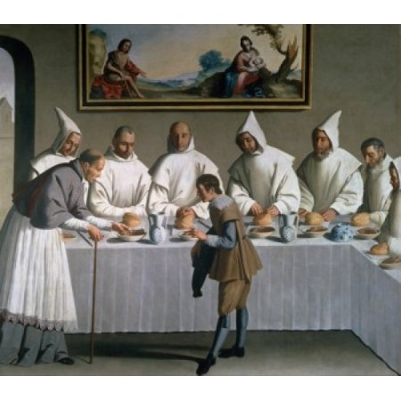 Miracle of Saint Hughes by Francisco de Zurbaran  17th Century  (1598-1664)  Spain  Seville  Musee des Beaux Arts Stretched Canvas - Francisco de Zurbaran (18 x