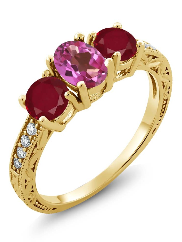 Gem Stone King 2.02 Ct Oval Pink Mystic Topaz Red Ruby 18K Yellow Gold Plated Silver Ring by