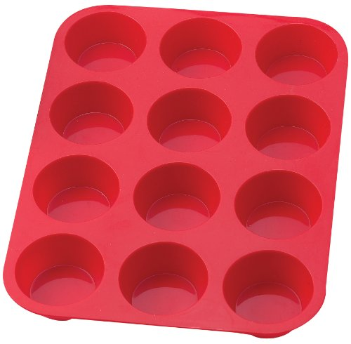 2 Pack Silicone Muffin Pan / Cupcake Pan Cupcake Mold 12 Cup, Red