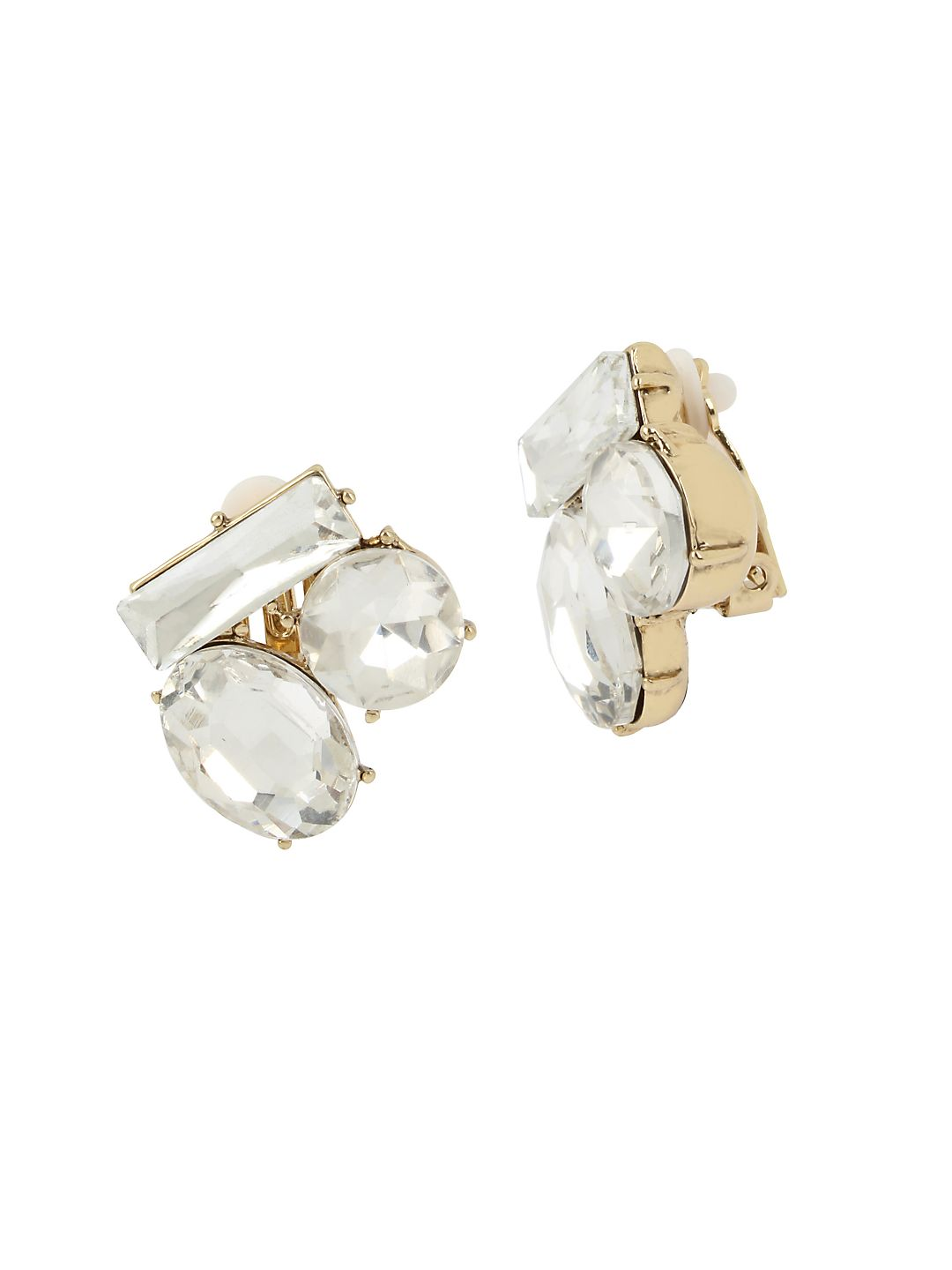 Vintage Floral Crystal Stone Cluster Clip-on Earrings