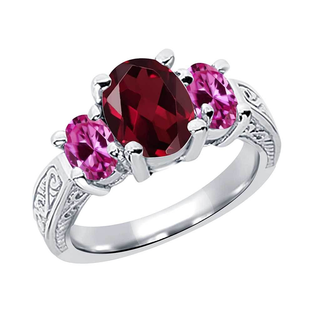 3.40 Ct Red Rhodolite Garnet Pink Created Sapphire 14K White Gold 3-Stone Ring by