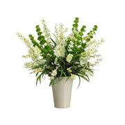 Allstate Floral WF3480-CR-GR 27 in. Hx26 in. Wx26 in. L Bells of Ireland-Wildflower in Vase Cream Green