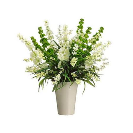 Allstate Floral Wf3480 Cr Gr 27 In  Hx26 In  Wx26 In  L Bells Of Ireland Wildflower In Vase Cream Green