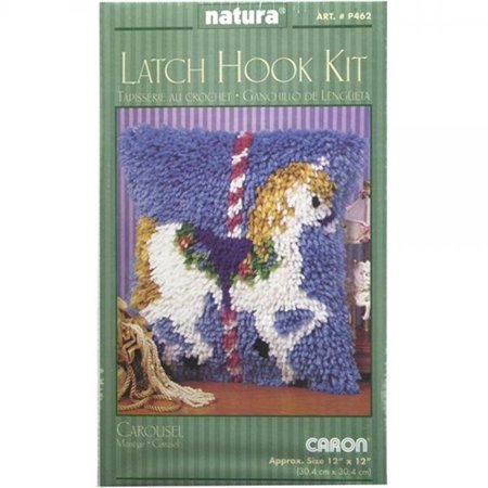Caron Rug Kits - Caron Natura Latch-Hook Kit, Carousel, 12 X 12