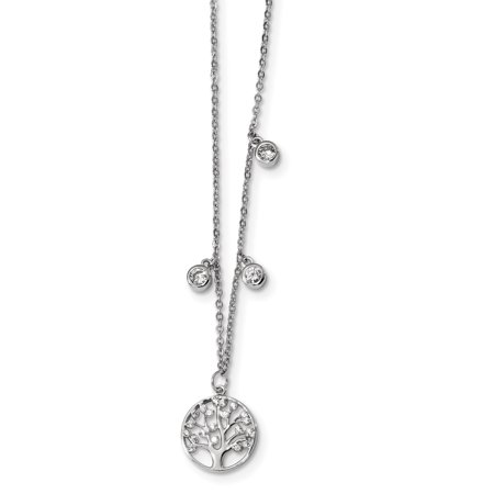 925 Sterling Silver Cubic Zirconia Cz Tree 1 Inch Extension Chain Necklace Pendant Charm Floral Leaf For Women Gift Set 5/8' No Leaf Pendant