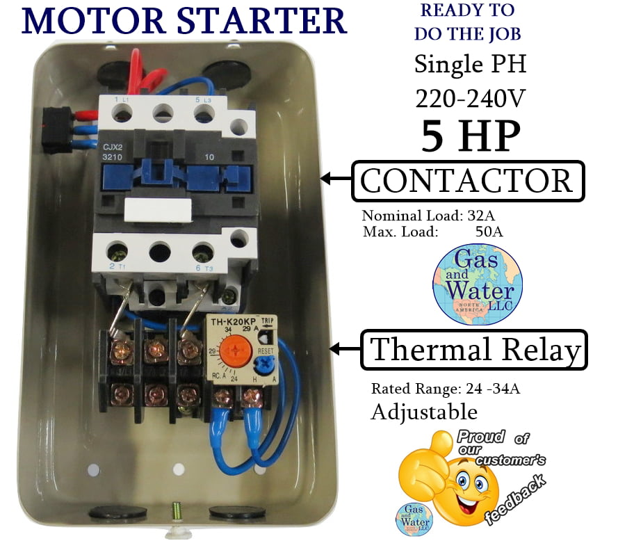 Magnetic Electric Motor Starter Control 5 Hp Single Phase 220  240v 22 Off Switch