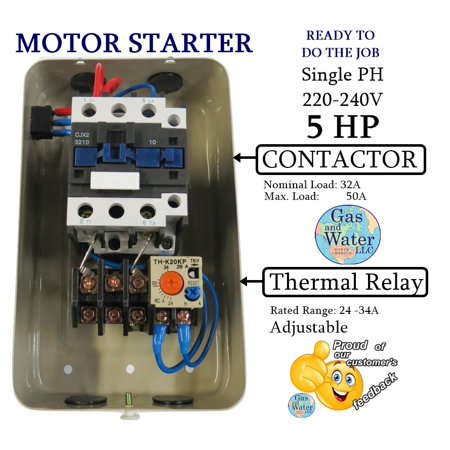 Magnetic Electric Motor Starter Control 5 Hp Single Phase 220/240v 22-34A with On/off Switch
