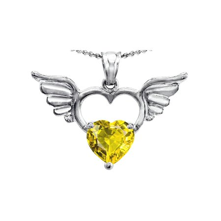Star K Wings Of Love Birth Month Pendant Necklace with 8mm Heart Shape Simulated Citrine in Sterling Silver