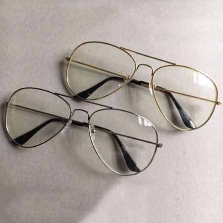 b49c154c38 Retro Unisex Big Round Gold Metal Frame Clear Lens Vintage Geek Chic Eye  Glasses - Walmart.com