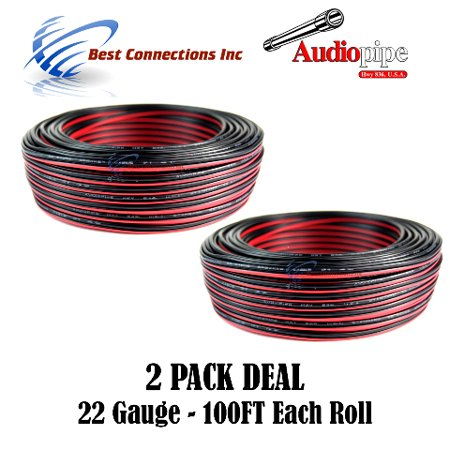 2 Rolls 22 GA 100ft Stranded 2 Conductor Power Ground Wire LED Sign Model Trains