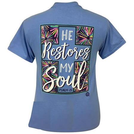 Girlie Girl Originals He Restores My Soul Short Sleeve T-Shirt-Carolina Blue-large](Girlie Girl Wholesale)