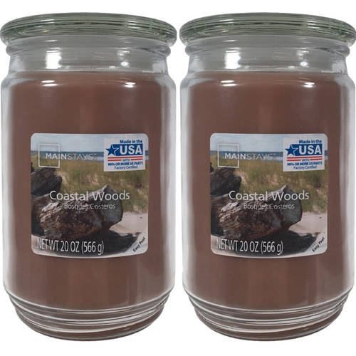 Click here to buy Mainstays 2-Pack Scented Candles, Coastal Woods, 20 oz by Candle-lite.