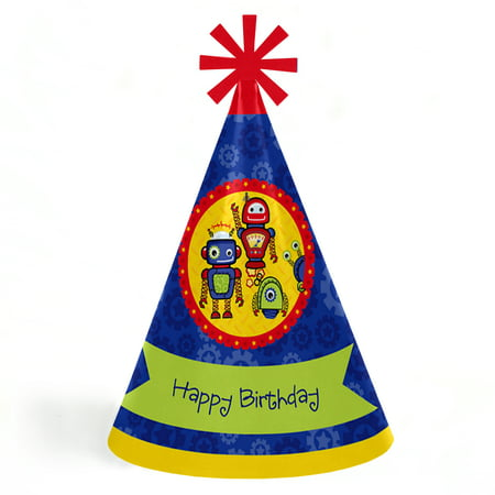 Robots - Cone Happy Birthday Party Hats for Kids and Adults - Set of 8 (Standard Size) - Plain Birthday Hats