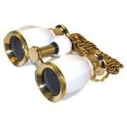HQRP Opera Glasses Antique Style White pearl w/ Crystal Clear Optic (CCO)& Gold Trim with Necklace Chain