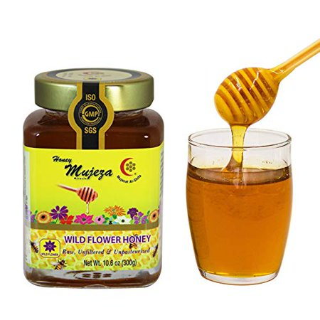 Mujeza Raw Wildflower Honey - Kosher - Unheated Unfiltered Unprocessed and Gluten Free Non GMO 100% Natural Raw Liquid Honey (SAVE $8 ON BIGGER SIZE) (250g /8.8 oz) عسل المعجزة - عسل نحل طبيعي
