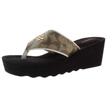 014e200d53175a Coach - Coach Janice Women s Thong Wedge Leather Sandals Signature ...