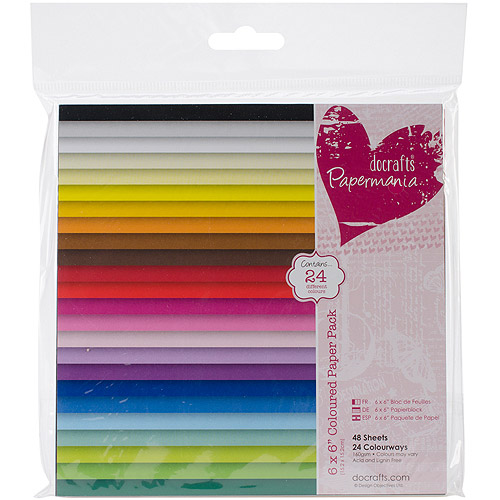"Papermania Paper Pack, 6"" x 6"", 48pk, 24 Solid Colors"