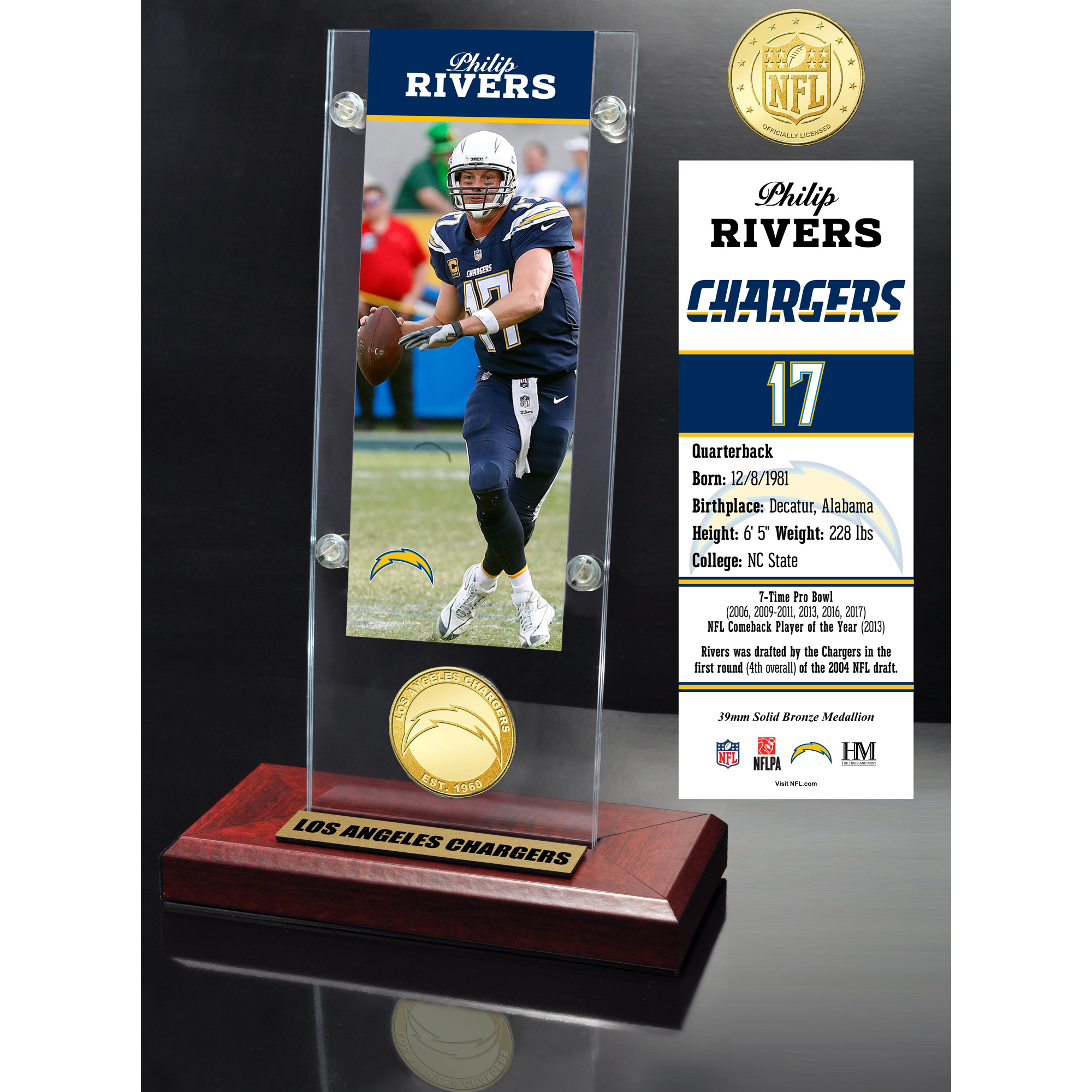 "Los Angeles Chargers Highland Mint Philip Rivers 3.5"" x 9"" Player Ticket Acrylic - No Size"